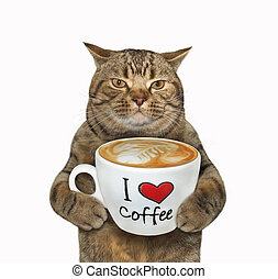 Cat holds cup of coffee with text