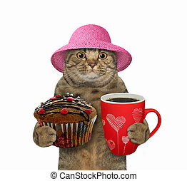 Cat holds cupcake and coffee 2