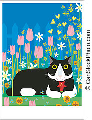 Cat holds flower - A black and white cat is resting in the...