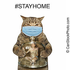 Cat holds glass jar with man 2
