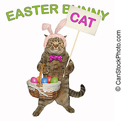 Cat holds the easter basket 2