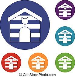 Cat house icons set