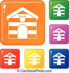 Cat house icons set vector color