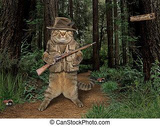 Cat hunter in forest