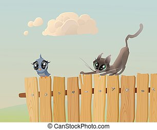 Cat hunts a bird - Cat - hunter stalks a bird on the fence...