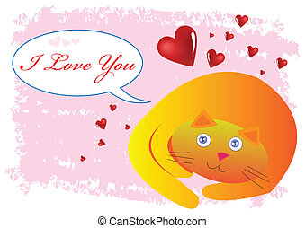 Cat I Love You Illustration in Vector
