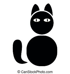 Cat icon black color illustration flat style simple image