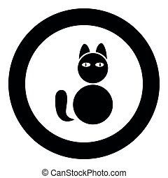 Cat icon black color vector illustration simple image