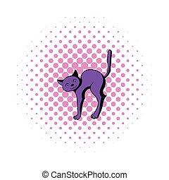 Cat icon in comics style