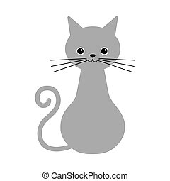 Cat icon in monochrome style isolated on white background. Cat symbol stock vector illustration.