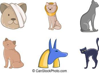 Cat icon set, cartoon style