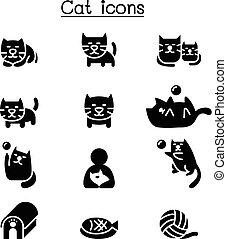 Cat icon set vector illustration graphic design