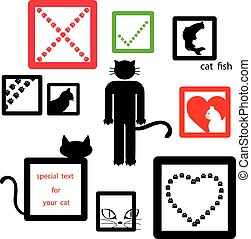 cat icon symbol set isolated on white background, vector