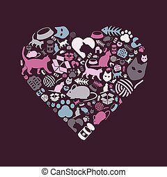 cat icons in heart