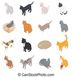 Cat icons set, isometric 3d style