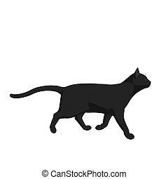 Cat Illustration - Black cat  on a white background