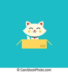 cat illustration - vector cat illustration cute flat style...