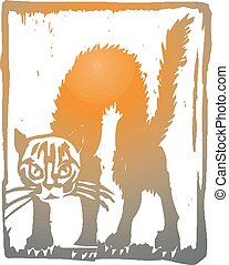 cat., illustration, eps, vektor, rolig, 10