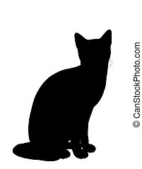 Cat Illustration Silhouette - Black cat art illustration...