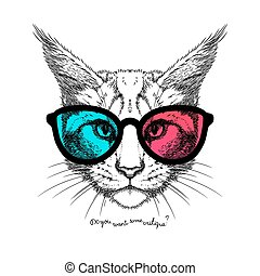 cat in 3D glasses - Hand Drawn stylized portrait of cat face...