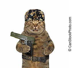 Cat in a bandana holds a gun
