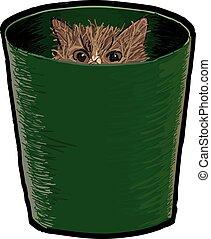 Cat in a Bin - A cat hiding in a bin.