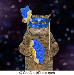 Cat in a blue masquerade mask