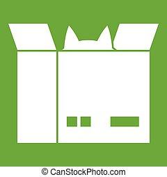 Cat in a cardboard box icon green