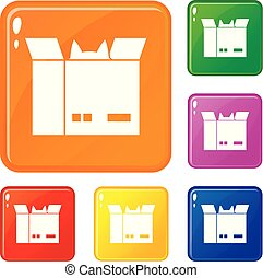 Cat in a cardboard box icons set vector color