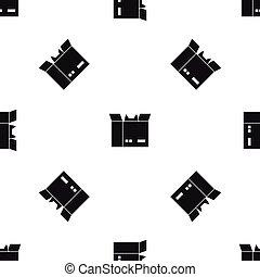 Cat in a cardboard box pattern seamless black