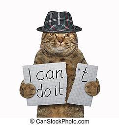 Cat in a hat tears a paper