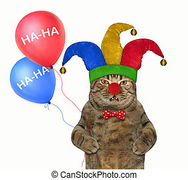Cat in a jester hat with balloons 2