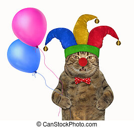Cat in a jester hat with balloons