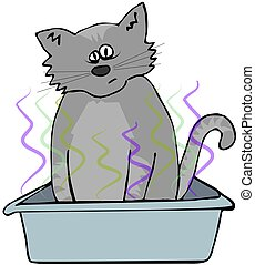 This illustration depicts a cat sitting in a smelly litter box.