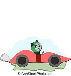 Cat in a Red Race Car
