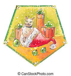 Cat in a Santa Claus hat