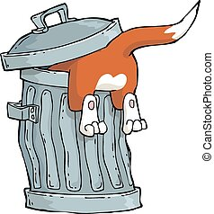 Cat in a trash - Red cat in a trash can vector illustration