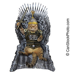 Cat in armor on the iron throne 2