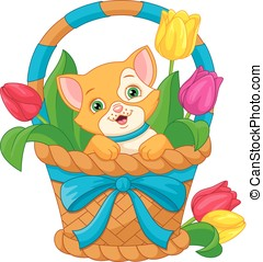 Cat in Basket - Cartoon cat sitting in basket
