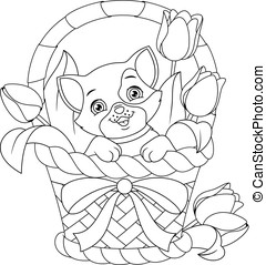 Cat in Basket Coloring Page - Cartoon cat sitting in basket