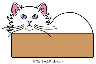 Cat in Bed - A white cat with blue eyes is lying in bed