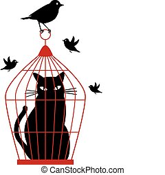 cat caged in birdcage by birds, vector background