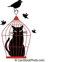 cat in birdcage, vector - cat caged in birdcage by birds,...