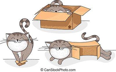 cat in box cartoon set