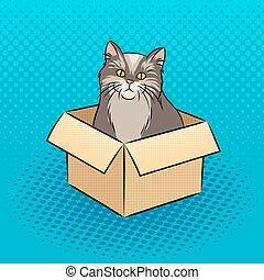 Cat in box pop art vector illustration