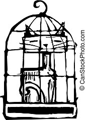 Cat in Cage #2 - cat sitting in a birdcage all alone.