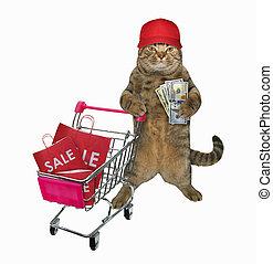 Cat in cap pushes shopping cart 3