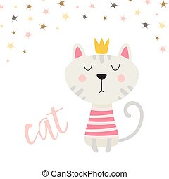 cat in crown isolated on white background