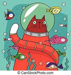 Cat in diving suit on the bottom of aquarium