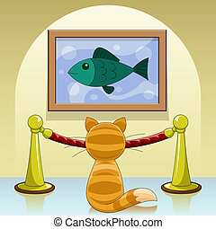 cat in gallery - Cartoon cat in picture gallery